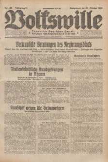 Volkswille : Organ der Deutschen Sozialistischen Arbeitspartei Polens. Jg.14, Nr. 241 (19 Oktober 1929) + dod.