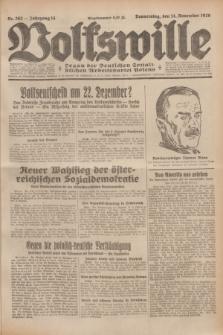 Volkswille : Organ der Deutschen Sozialistischen Arbeitspartei Polens. Jg.14, Nr. 262 (14 November 1929) + dod.