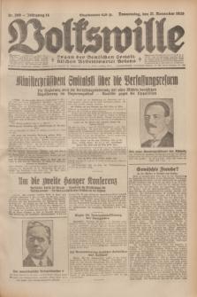 Volkswille : Organ der Deutschen Sozialistischen Arbeitspartei Polens. Jg.14, Nr. 268 (21 November 1929) + dod.