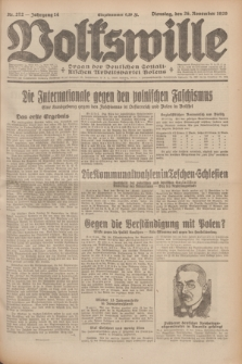 Volkswille : Organ der Deutschen Sozialistischen Arbeitspartei Polens. Jg.14, Nr. 272 (26 November 1929) + dod.