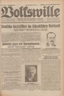 Volkswille : Organ der Deutschen Sozialistischen Arbeitspartei Polens. Jg.14, Nr. 275 (29 November 1929) + dod.