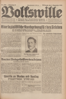 Volkswille : Organ der Deutschen Sozialistischen Arbeitspartei Polens. Jg.14, Nr. 279 (4 Dezember 1929) + dod.