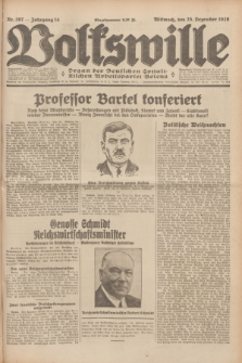 Volkswille : Organ der Deutschen Sozialistischen Arbeitspartei Polens. Jg.14, Nr. 297 (25 Dezember 1929) + dod.