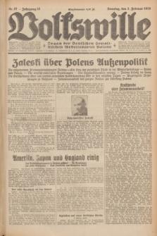 Volkswille : Organ der Deutschen Sozialistischen Arbeitspartei Polens. Jg.15, Nr. 27 (2 Februar 1930) + dod.
