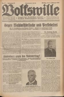 Volkswille : Organ der Deutschen Sozialistischen Arbeitspartei Polens. Jg.15, Nr. 37 (14 Februar 1930) + dod.