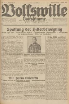 Volkswille : zugleich Volksstimme für Bielitz : Organ der Deutschen Sozialistischen Arbeitspartei in Polen. Jg.17, Nr. 78 (4 April 1931) + dod.