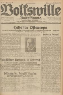 Volkswille : zugleich Volksstimme für Bielitz : Organ der Deutschen Sozialistischen Arbeitspartei in Polen. Jg.17, Nr. 92 (22 April 1931) + dod.