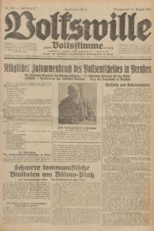 Volkswille : zugleich Volksstimme für Bielitz : Organ der Deutschen Sozialistischen Arbeitspartei in Polen. Jg.17, Nr. 182 (11 August 1931) + dod.