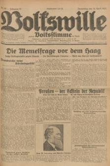 Volkswille : zugleich Volksstimme für Bielitz : Organ der Deutschen Sozialistischen Arbeitspartei in Polen. Jg.18, Nr. 86 (14 April 1932) + dod.