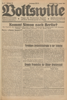 Volkswille : Organ der Deutschen Sozialistischen Arbeiterpartei in Polen. Jg.20, Nr. 3 (6 Januar 1934) + dod.