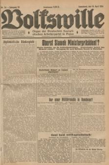 Volkswille : Organ der Deutschen Sozialistischen Arbeiterpartei in Polen. Jg.20, Nr. 24 (14 April 1934) + dod.
