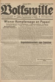 Volkswille : Organ der Deutschen Sozialistischen Arbeiterpartei in Polen. Jg.20, Nr. 41 (11 August 1934) + dod.