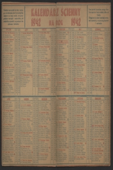 Kalendarz Ścienny na Rok 1942
