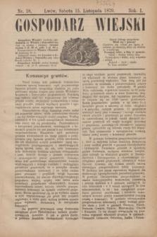 Gospodarz Wiejski. R.1, nr 18 (15 listopada 1879)
