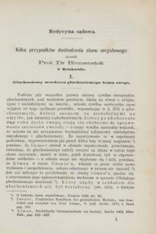 Służba Zdrowia Publicznego : czasopismo poświęcone wszystkim gałęziom umiejętności lekarskiej, ze szczególnym względem na medycynę publiczną. 1872, [T.1], [z. 1] ([styczeń])