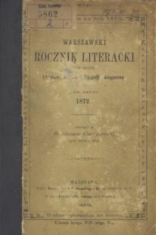 Warszawski Rocznik Literacki : poświęcony Literaturze, Oświacie, Bibljografji i Księgarstwu. R.2 (1872)