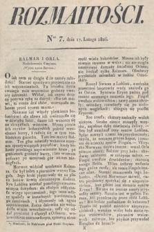 Rozmaitości : oddział literacki Gazety Lwowskiej. 1826, nr7