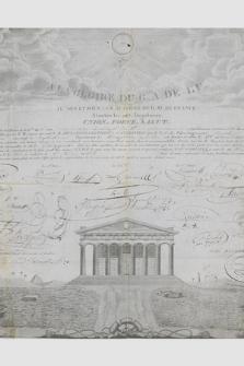 Dokument Loży Wielkiego Wschodu Francji poświadczający przynależność Józefa Garczyńskiego do loży masońskiej