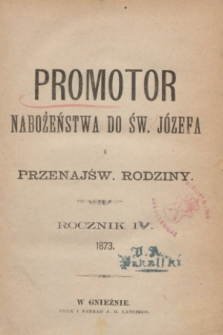 Promotor Nabożeństwa do Św. Józefa i Przenajśw. Rodziny. R.4 (1873)