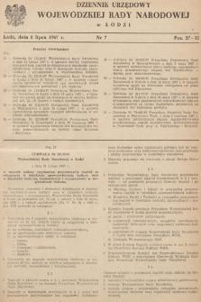 Dziennik Urzędowy Wojewódzkiej Rady Narodowej wŁodzi. 1967, nr 7