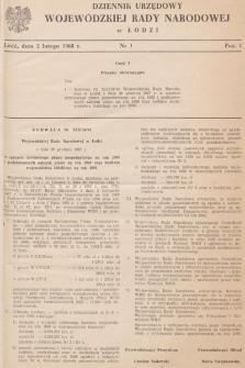 Dziennik Urzędowy Wojewódzkiej Rady Narodowej wŁodzi. 1968, nr 1