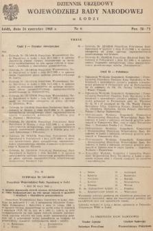 Dziennik Urzędowy Wojewódzkiej Rady Narodowej wŁodzi. 1968, nr 6