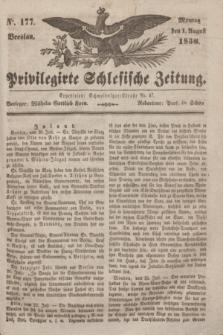 Privilegirte Schlesische Zeitung. 1836, No. 177 (1 August) + dod.