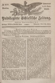 Privilegirte Schlesische Zeitung. 1836, № 218 (17 September) + dod.