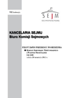 Pełny Zapis Przebiegu Posiedzenia Komisji Samorządu Terytorialnego i Polityki Regionalnej (nr240) z dnia 26 września 2018 r.
