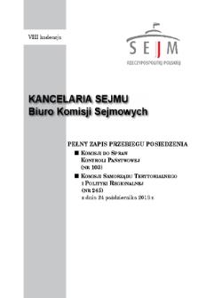 Pełny Zapis Przebiegu Posiedzenia Komisji Samorządu Terytorialnego i Polityki Regionalnej (nr245) z dnia 24 października 2018 r.