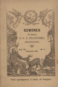Dzwonek III Zakonu S. O. N. Franciszka Serafickiego. R.7, nr 4 (kwiecień 1891)