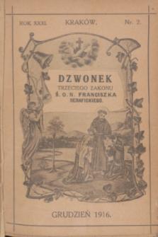 Dzwonek Trzeciego Zakonu Ś. O. N. Franciszka Serafickiego. R.31, nr 2 (grudzień 1916)