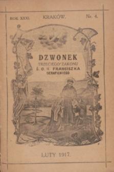 Dzwonek Trzeciego Zakonu Ś. O. N. Franciszka Serafickiego. R.31, nr 4 (luty 1917)