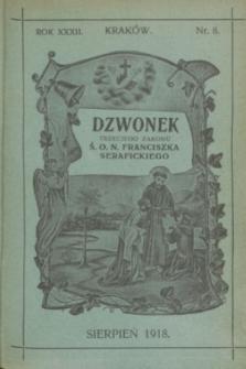 Dzwonek Trzeciego Zakonu Ś. O. N. Franciszka Serafickiego. R.32, nr 8 (sierpień 1918)