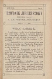 Dzwonek Jubileuszowy Trzeciego Zakonu Ś. O. N. Franciszka Serafickiego. R.41, nr 2 (luty 1927)