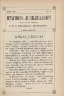 Dzwonek Jubileuszowy Trzeciego Zakonu Ś. O. N. Franciszka Serafickiego. R.41, nr 5 (maj 1927)