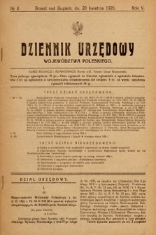 Dziennik Urzędowy Województwa Poleskiego. 1926, nr4