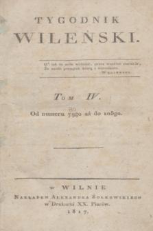 Tygodnik Wileński. T.4, Spisanie rzeczy w Tomie czwartym Tygodnika umieszczonych (1817)