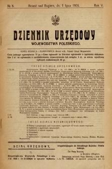 Dziennik Urzędowy Województwa Poleskiego. 1926, nr6