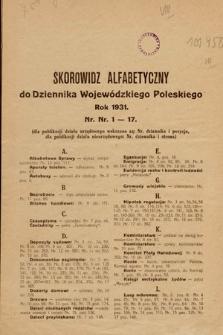 Poleski Dziennik Wojewódzki. 1931, skorowidz alfabetyczny