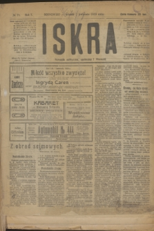 Iskra : dziennik polityczny, społeczny i literacki. R.10, № 74 (1 kwietnia 1919)