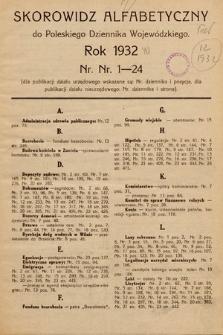 Poleski Dziennik Wojewódzki. 1932, skorowidz alfabetyczny