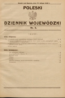 Poleski Dziennik Wojewódzki. 1932, nr3