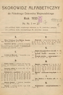 Poleski Dziennik Wojewódzki. 1933, skorowidz alfabetyczny