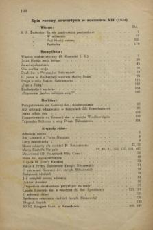 Głos Eucharystyczny : pismo miesięczne dla kapłanów i wiernych, poświęcone szerzeniu czci Przenajśw. Sakramentu Ołtarza. R.7, Spis rzeczy zawartych w roczniku VII (1924)