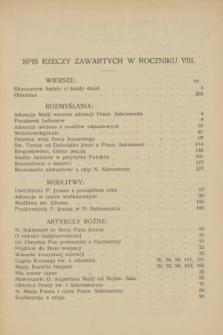Głos Eucharystyczny : pismo miesięczne dla kapłanów i wiernych, poświęcone szerzeniu czci Przenajśw. Sakramentu Ołtarza. R.8, Spis rzeczy zawartych w roczniku VIII (1925)
