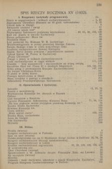 Głos Eucharystyczny : pismo miesięczne dla kapłanów i wiernych, poświęcone szerzeniu czci Przenajśw. Sakramentu Ołtarza. R.15, Spis rzeczy zawartych w roczniku XV (1932)