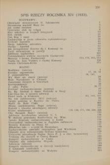Głos Eucharystyczny : pismo miesięczne dla kapłanów i wiernych, poświęcone szerzeniu czci Przenajśw. Sakramentu Ołtarza. R.16, Spis rzeczy zawartych w roczniku XVI (1933)