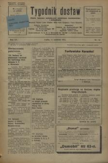 Tygodnik dostaw : pismo fachowe poświęcone polskiemu dostawnictwu i odbudowie. R.15, nr 14 (11 kwietnia 1923)