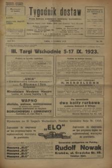 Tygodnik dostaw : pismo fachowe poświęcone polskiemu dostawnictwu i odbudowie. R.15, nr 33 (4 września 1923)
